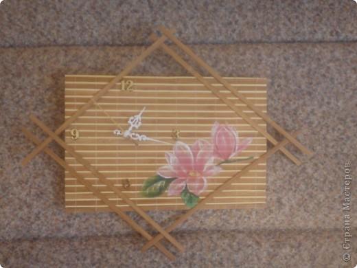 Часы из бамбуковой салфетки