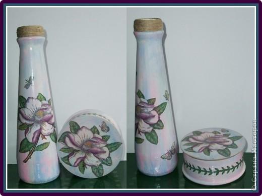 Деревянная шкатулочка и вазочка из бутылки. Работа 2008 года.