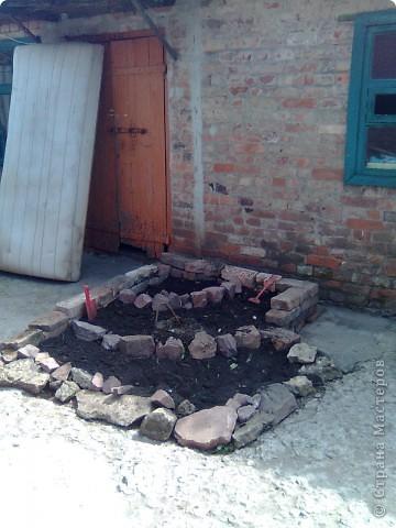 Во дворе остался не забетонированный кусочек земли где раньше росло дерево. 1- выкладываем контур камнями. ( заднюю стенку я выложила кирпичами). 2- засыпаем землей... фото 2