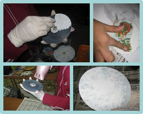 Вот и начал работу мой кружок по декорированию предметов в стиле декупаж!!! Первое занятие начали с декора дисков.наклеивание салфетки методом файла. фото 1