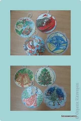 Вот и начал работу мой кружок по декорированию предметов в стиле декупаж!!! Первое занятие начали с декора дисков.наклеивание салфетки методом файла. фото 4