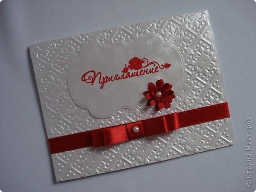 Свадебное приглашение - перламутровая дизайнерская бумага ,теснение, вырубка,надпись выполнена в технике горячий эмбоссинг, атласные ленты.Цветы сделаны с помощью дырокола. фото 9