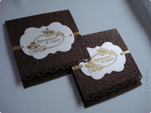 Свадебное приглашение - перламутровая дизайнерская бумага ,теснение, вырубка,надпись выполнена в технике горячий эмбоссинг, атласные ленты.Цветы сделаны с помощью дырокола. фото 10