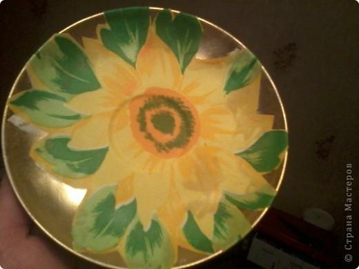 Солнечная тарелочка Используемые материалы -белая акриловая краска-как грунт в один слой -салфетка -клей пва -аэрозольная краска раст олеум  -блестки  -акриловый лак на водной основе фото 2