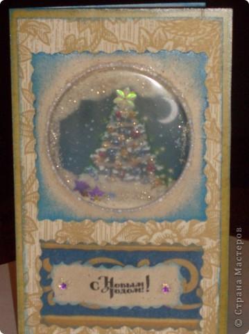 Как-то я быстренько устала от новогодних блестяшек и сделала открытку для себя любимой. Скромно, почти вся в двух цветах. фото 6