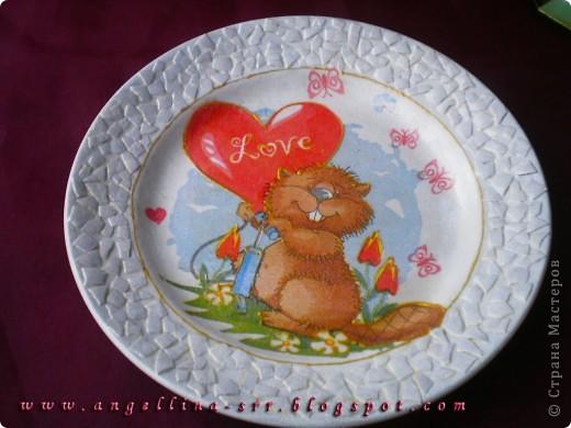 Тарелочка с влюбленным бобром фото 3