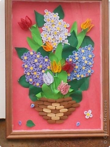 панно сирень и тюльпаны в корзине
