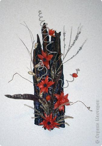 Панно выполнено на коре акации, дополнено цветами из физалиса, так же присутствуют ветви ивы, стебли трав, особый вид акации, вернее крупные стручки и шпагат на проволоке. Все работы выполнены в октябре-ноябре 2011г. фото 1