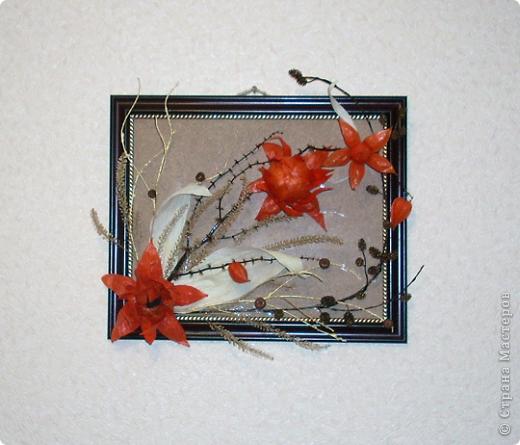 Панно выполнено на коре акации, дополнено цветами из физалиса, так же присутствуют ветви ивы, стебли трав, особый вид акации, вернее крупные стручки и шпагат на проволоке. Все работы выполнены в октябре-ноябре 2011г. фото 5