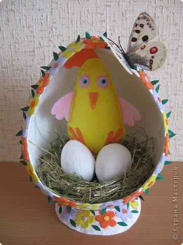 Выкладываю на ваш суд свои поделки из папье-маше. Это пасхальное яйцо заняло первое место на пасхальной церковной выставке. фото 1