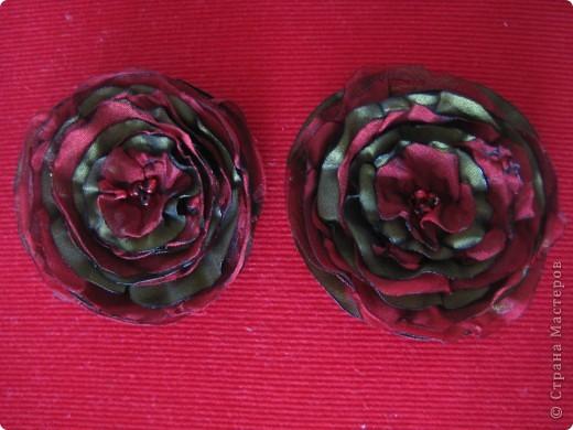 брошка-цветок из ткани фото 1