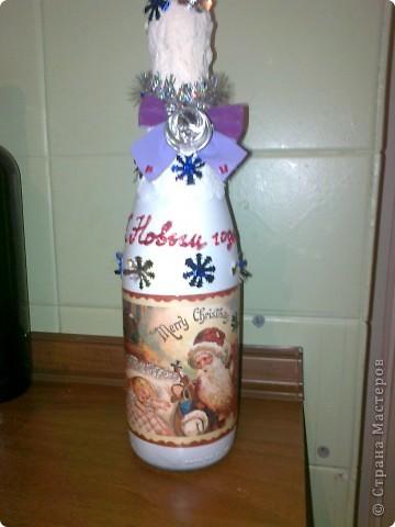 Ужасно намучалась с этой бутылкой,снег не получился но заказчик остался доволен. фото 2