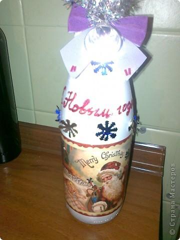 Ужасно намучалась с этой бутылкой,снег не получился но заказчик остался доволен. фото 1