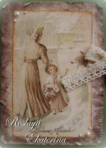 Нравятся мне винтажные картинки. Начала делать с ними открыточки. Набираюсь опыта в состаривании бумаги фото 2