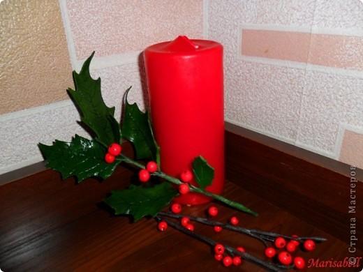 """Здравствуйте! В """"Стране"""" уже многие готовятся к Рождеству и Новому году. Очень приятно и радостно смотреть какие у всех получаются красивые рождественские украшения и поделки. Я тоже занимаюсь подготовкой к этому светлому празднику. Начала с лепки рождественского венка из остролиста. Он еще в процессе """"создания"""". фото 4"""