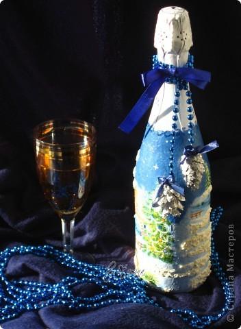"""Давненько ничего не показывала.  Много чего на стадии """"вдохновение приди-чтобы я закончила работу :))) """" За месяц до нового года никого, конечно, не удивишь..декорированной шипучкой к праздничному столу...  фото 1"""