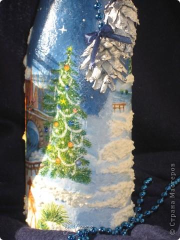 """Давненько ничего не показывала.  Много чего на стадии """"вдохновение приди-чтобы я закончила работу :))) """" За месяц до нового года никого, конечно, не удивишь..декорированной шипучкой к праздничному столу...  фото 2"""