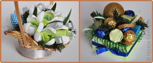 Вот такие у меня получились конфетные, новогодние композиции. фото 1
