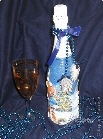 """Давненько ничего не показывала.  Много чего на стадии """"вдохновение приди-чтобы я закончила работу :))) """" За месяц до нового года никого, конечно, не удивишь..декорированной шипучкой к праздничному столу...  фото 3"""