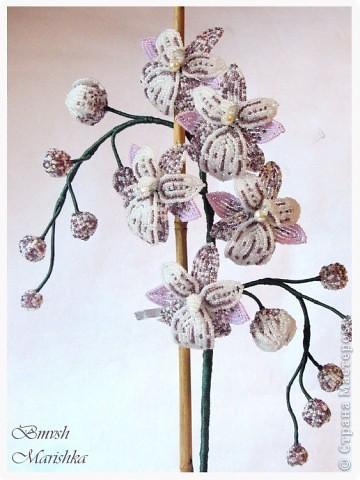 Давно я заглядывалась на бисерные орхидеи, и мечтала, чтобы такая же красавица поселилась у меня. И моя мечта сбылась! Сплела я свою Чаровницу на совместном плетении с Танюшей - goldi на Конфеткином форуме. Танечка, огромное тебе спасибо! Высота орхидеи с горшочком - 53 см. фото 4
