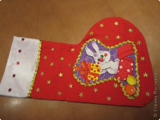 Валеночек для подарков. Большой. Апликация из вафельной ткани, с новогодней тематикой. фото 1