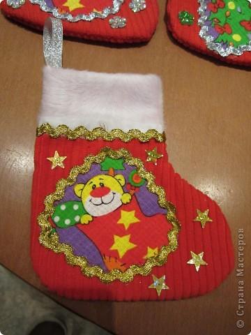 Валеночек для подарков. Большой. Апликация из вафельной ткани, с новогодней тематикой. фото 3