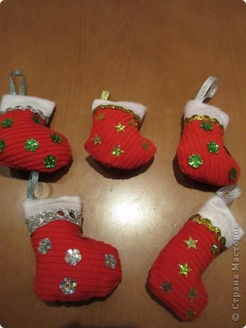 Валеночек для подарков. Большой. Апликация из вафельной ткани, с новогодней тематикой. фото 8