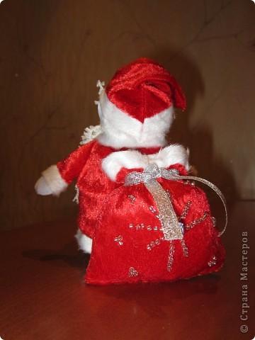 Валеночек для подарков. Большой. Апликация из вафельной ткани, с новогодней тематикой. фото 7