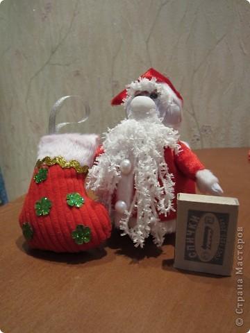 Валеночек для подарков. Большой. Апликация из вафельной ткани, с новогодней тематикой. фото 9