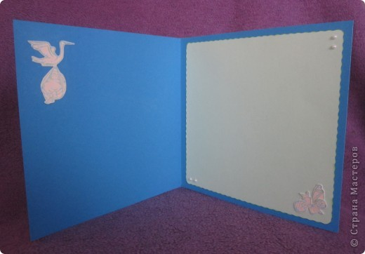 Эту открытку я сделала в подарок сестре и ее мужу, конечно же, у которых недавно родился замечательный малыш!!  Открытку захотелось сделать милую и нежную.   фото 4