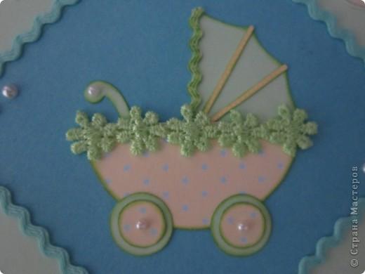 Эту открытку я сделала в подарок сестре и ее мужу, конечно же, у которых недавно родился замечательный малыш!!  Открытку захотелось сделать милую и нежную.   фото 3