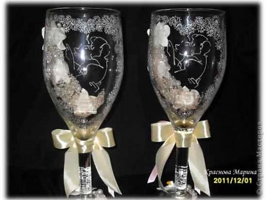 Делала на заказ вот такие вот огромные бокалы!!!Они по высоте с бутылку.Больше похожи на вазу.  фото 6