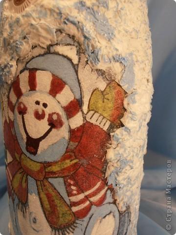 .....заказ на 12 штук......  .... иммитация снега  - белая салфетка.....тонировка -тени для век .....роспись салфетки  - лак для ногтей и смесь гуаши и теней для век........ фото 3