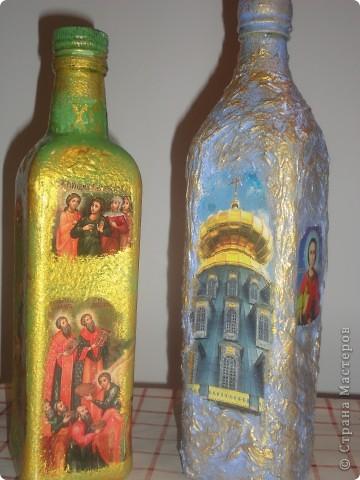 вот и мои бутылочки а подарок к рождеству.Картинки брала из церковных календарей фото 2