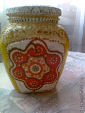 Цветочки из салфетки, яичное кракле, точечная роспись фото 1