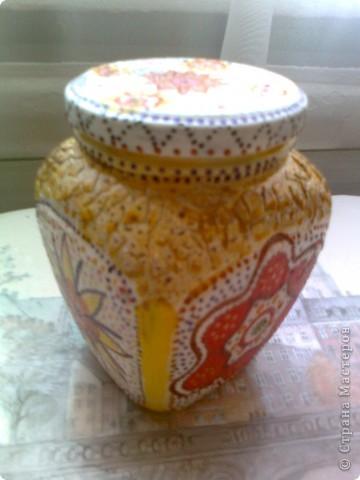 Цветочки из салфетки, яичное кракле, точечная роспись фото 2