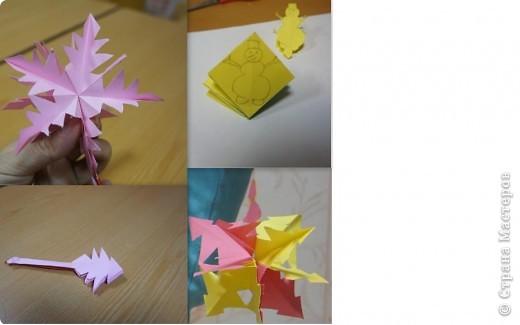 Такая чудоковатая снежинка делается из модулей https://stranamasterov.ru/node/127916 (делать только с 1-3 шаги).  Здесь использовано 3 модуля. Все модули склеиваются между собой и вырезается снеговик (взято 3 модуля, чтобы легко было вырезать, иначе с фигурными формами дети не справятся). См. также фото 5. фото 5