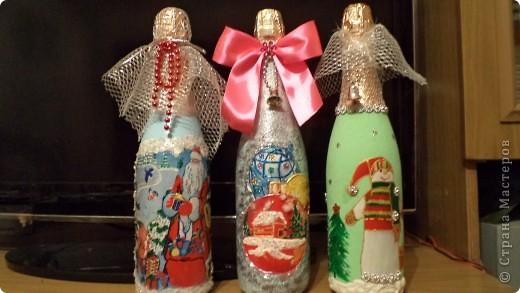 Вот такие бутылочки надекупажила- пытаюсь, дорогие мастерицы, за Вами повторюшничать. фото 1