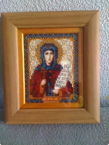 икона преподобной Ксении, вышита в подарок, оформление-двойной багет
