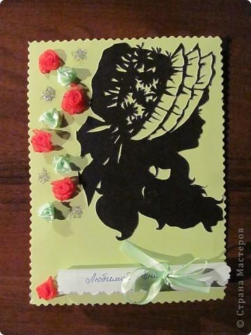 Моя первая открыточка! В свитке стихотворное поздравление племяшке на день рождения.