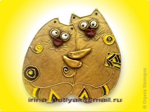 Очень понравились котики --  https://stranamasterov.ru/node/178424 Вместо гипса мне на рынке предложили алебастр, получилось. Глазки и лапки из теста. фото 1