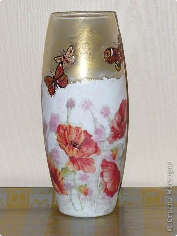 Сделала ещё одну вазу, на сей раз с маками, заказчица дала на выбор три идеи ( красные маки, берёзы или красные тюльпаны). Ну вот, выставляю то, что получилось в итоге. фото 3