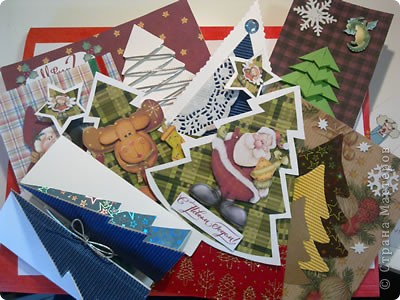 На выходных наконец занялась новогодними открытками для друзей))) Вот первая партия...))) фото 1