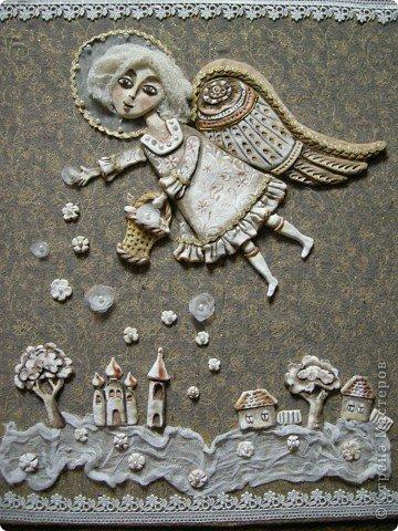 Птица Сирин.  Солёное тесто, гуашь, золото(акрил),ткань, оргалит, клей. фото 2