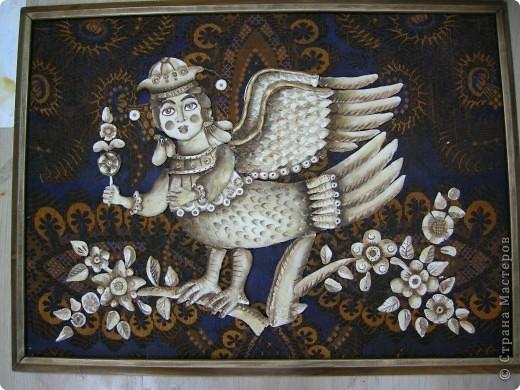 Птица Сирин.  Солёное тесто, гуашь, золото(акрил),ткань, оргалит, клей. фото 1