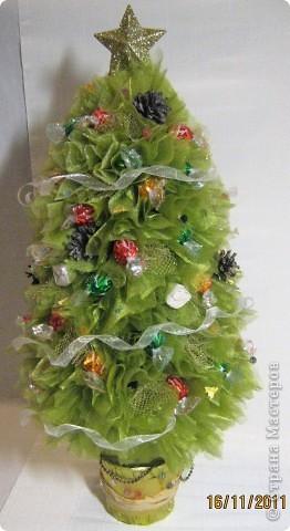 Хочу поделится с Вами тем, как делаю я елочки из конфет. Надеюсь, что Вы еще успеете воспользоваться моим МК. Высота показанной елочки около 75 см. фото 34