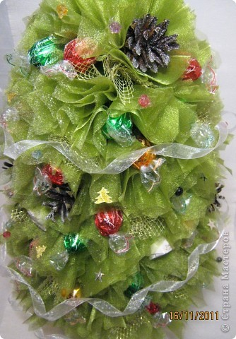 Хочу поделится с Вами тем, как делаю я елочки из конфет. Надеюсь, что Вы еще успеете воспользоваться моим МК. Высота показанной елочки около 75 см. фото 36