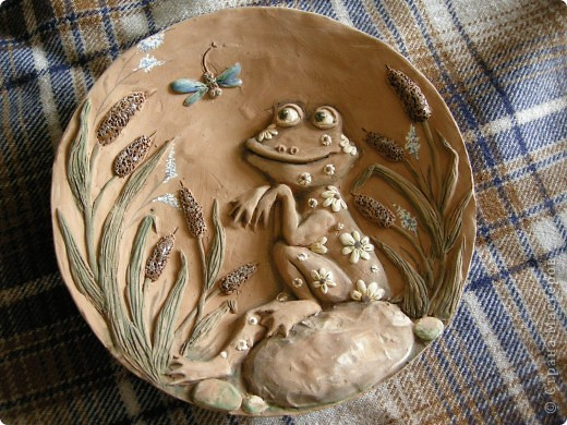 Птица Сирин.  Солёное тесто, гуашь, золото(акрил),ткань, оргалит, клей. фото 3