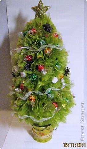 Хочу поделится с Вами тем, как делаю я елочки из конфет. Надеюсь, что Вы еще успеете воспользоваться моим МК. Высота показанной елочки около 75 см. фото 1