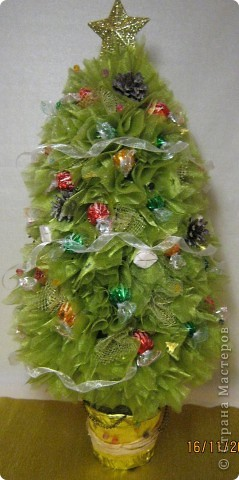 Хочу поделится с Вами тем, как делаю я елочки из конфет. Надеюсь, что Вы еще успеете воспользоваться моим МК. Высота показанной елочки около 75 см. фото 37